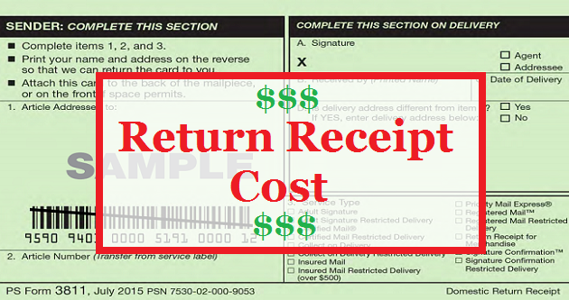Return Receipt Cost