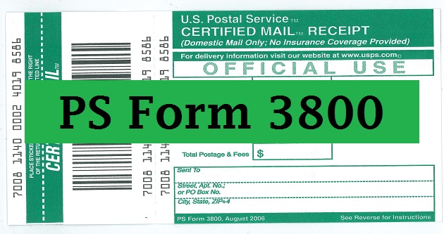 Certified Mail Receipt Ps Form 3800