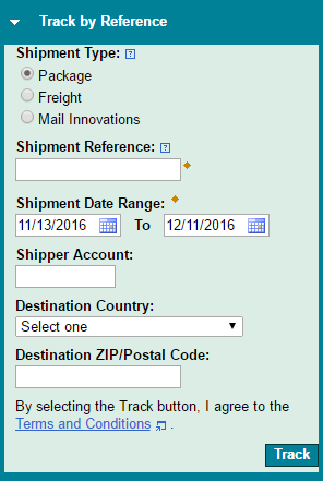 UPS tracking by reference