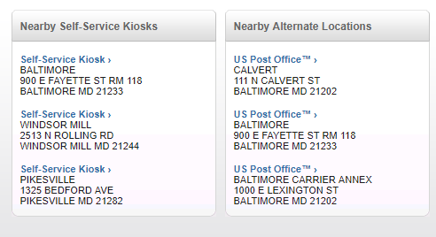 nearby alternatives in USPS Locator tool